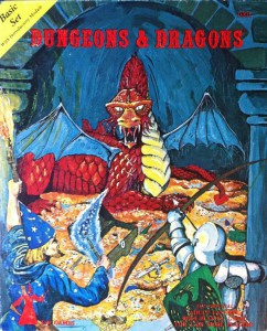 The box cover of the D&D basic set. I started with this in 1978.