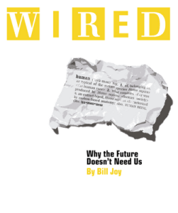 Cover of Wired Magazine, with Bill Joy's now infamous warning.