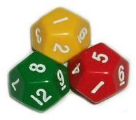 A photograph of twelve sided dice