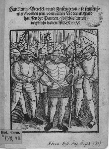 Woodcut engraving of medeival peasant soldiers