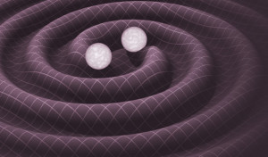 A schematic of how gravitational waves would propagate from two orbiting stars.