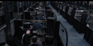A still from the Virgin Films movie, 1984, showing the cubicles of the Ministry of Truth