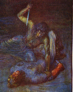 A painting of Grendel's Mother attempting to stab Beowulf, by J.R. Skelton