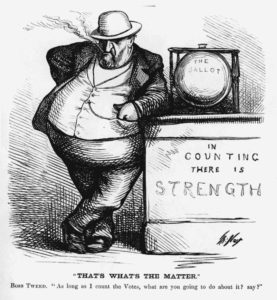 A political cartoon by Thomas Nast lampooning the money, power and corruption of Boss Tweed.