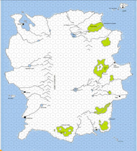 A screenshot of the map of the country of Udra in Roll20.