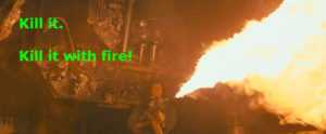 A screenshot from the movie Alien, where Ellen Ripley incinerates Captain Dallas.