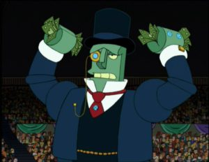 A screenshot of the billionaire robot from Futurama.