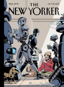 A recnet cover of New Yorker Magazine. It depicts a homeless young man in the midst of commuting robots.